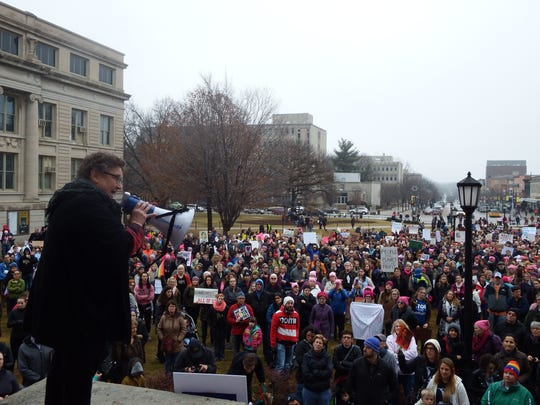 State Rep. Mary Mascher, D-Iowa City, speaks to a crowd