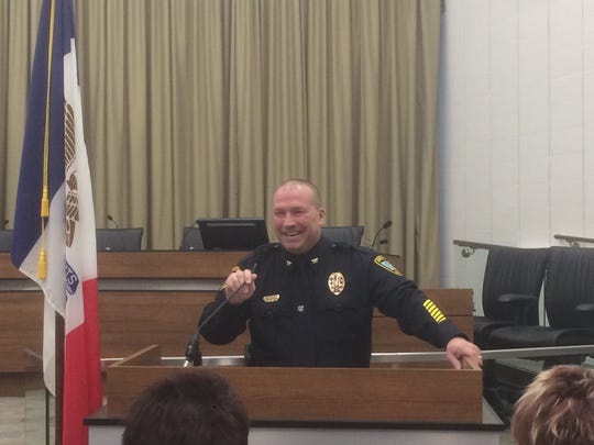 Jody Matherly speaks to city staff and police department
