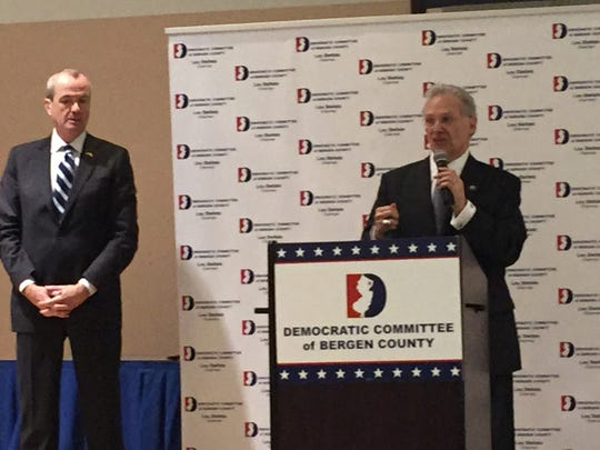 Phil Murphy, left, and Bergen Democratic Chairman Lou Stellato at the nominating convention in January 2017.