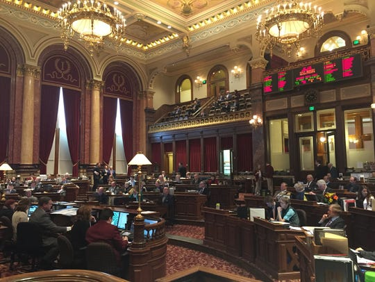 The Iowa Senate chamber is shown on Thursday, Jan.