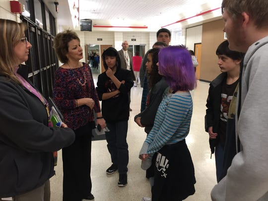 RHS counselor Sally Porter talks with Dennis Intermediate