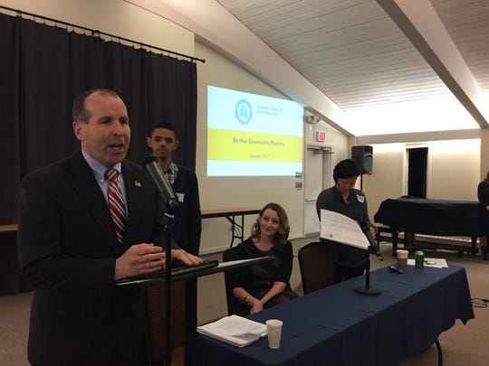 Stony Point Supervisor Jim Monaghan, far left, speaks at the public meeting at Stony Point Center about the future of the Ba Mar mobile-park community on Thursday, Jan. 26, 2016.