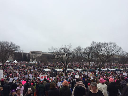 The crowd gathers during the Women's March on Washington Jan. 21.