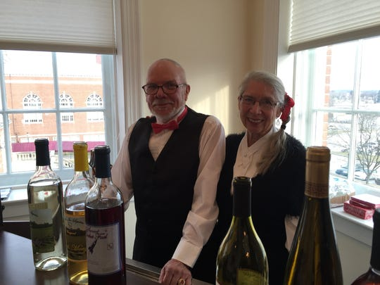 Betsy Klunk volunteers with her brother, Dan Klunk, a violinist for the Hanover Symphony Orchestra, as bartenders for the 9th Annual Taste of Chamber on Sunday, Jan. 29, 2017.