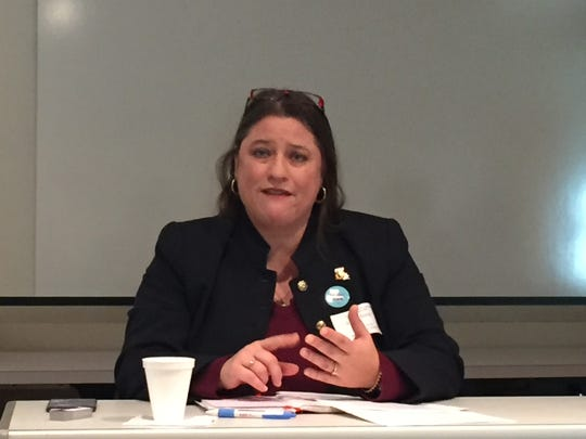 Nedra Davis, executive director of the Chenier Plain Coastal Restoration and Protection Authority, discusses the state's coastal master plan at an Acadiana Press Club forum Jan. 30, 2017, in Lafayette, LA.