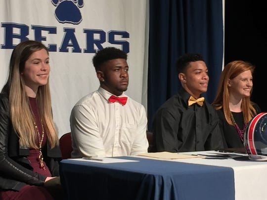 "Belton-Honea Path signees (left to right) Mary Kate Beck, Deanahjai ""Mooky"" Turner, Akyah Miranda and Harper Gilreath are photographed Wednesday morning."