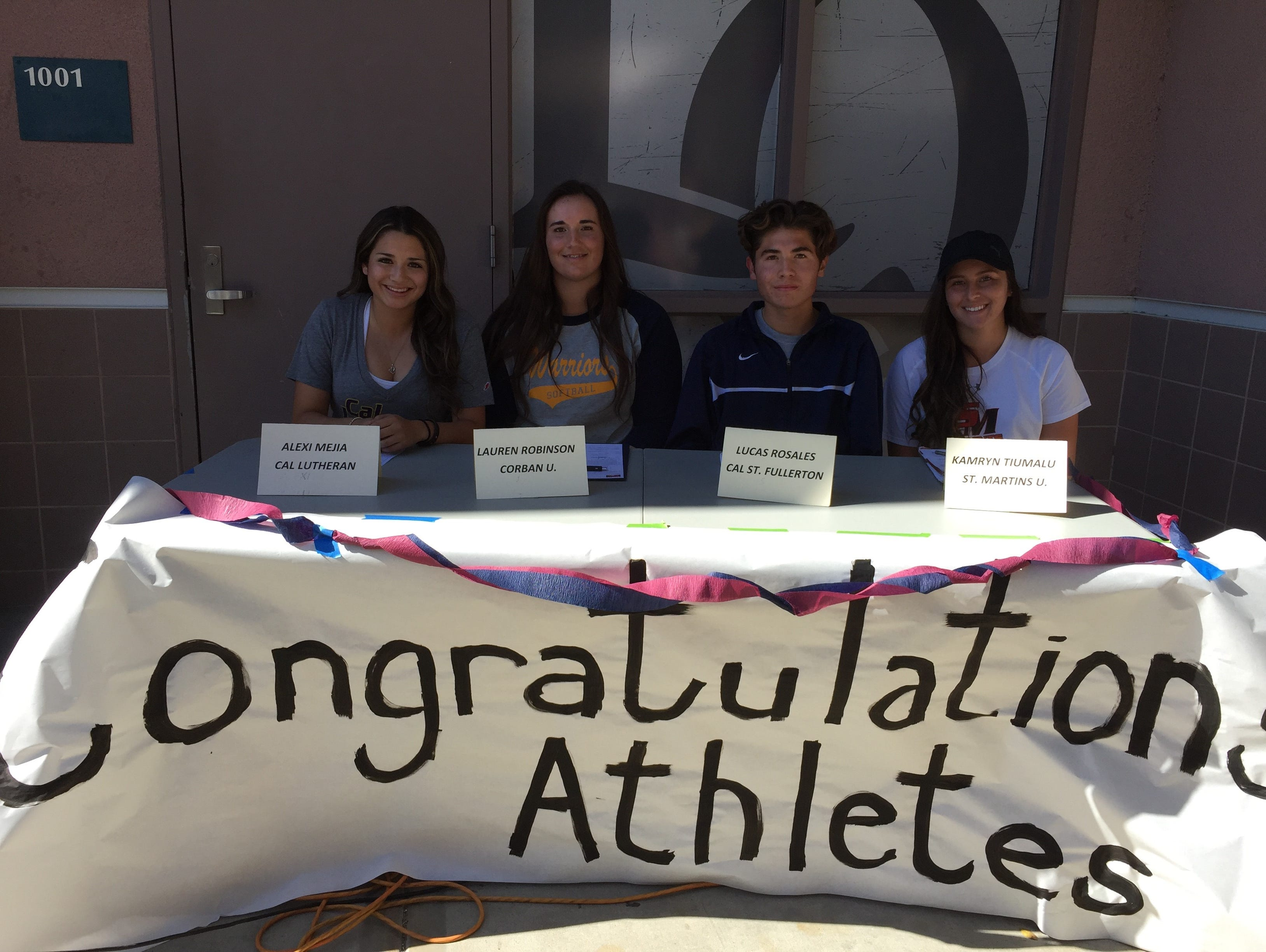 Four student-athletes at la Quinta High School signed letters of intent to various colleges Wednesday.
