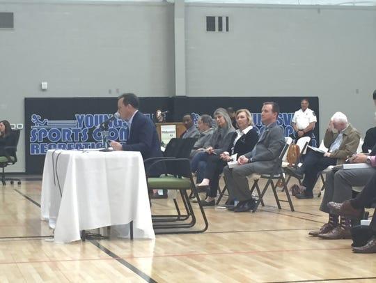St. Martin Parish President Guy Cormier addresses the