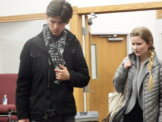 Chris Walbert, left, and Victoria Vaughn, right, rehearse