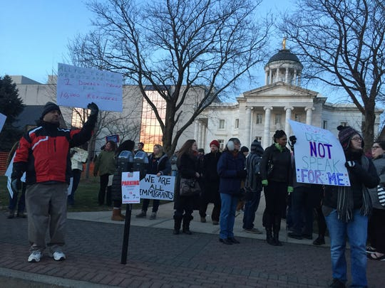 Hundreds of people in Somerville protest President Donald Trump's executive order on immigration.