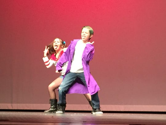 "Karter Johnson and Lillie Hawkins, students at Park Hills and Conewago elementary schools, respectively, perform a dance to ""Suicide Squad"" at the 7th Annual Hanover Has Talent."