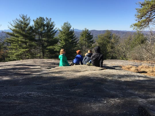 Kids take in the view from the top of Big Glassy Mountain
