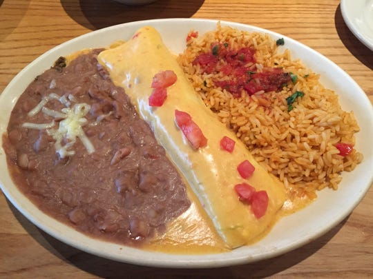The Lunch Bunch Buddy ordered the lunch special numero cinco - a beef burrito topped with queso - at El Chico.