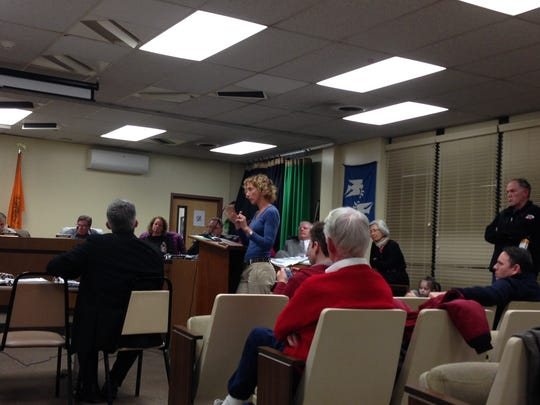 Montclair resident Nancy Katz addresses the board and applicant witnesses during the Feb. 6 Planning Board meeting.