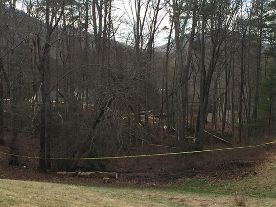 Investigators searched a wooded area between Dix Creek Road #1 and Dorothy Lane in Leicester after human remains were discovered Tuesday, February 7, 2017. The skeletal remains were reported to the Buncombe County Sheriff's Office Monday night.