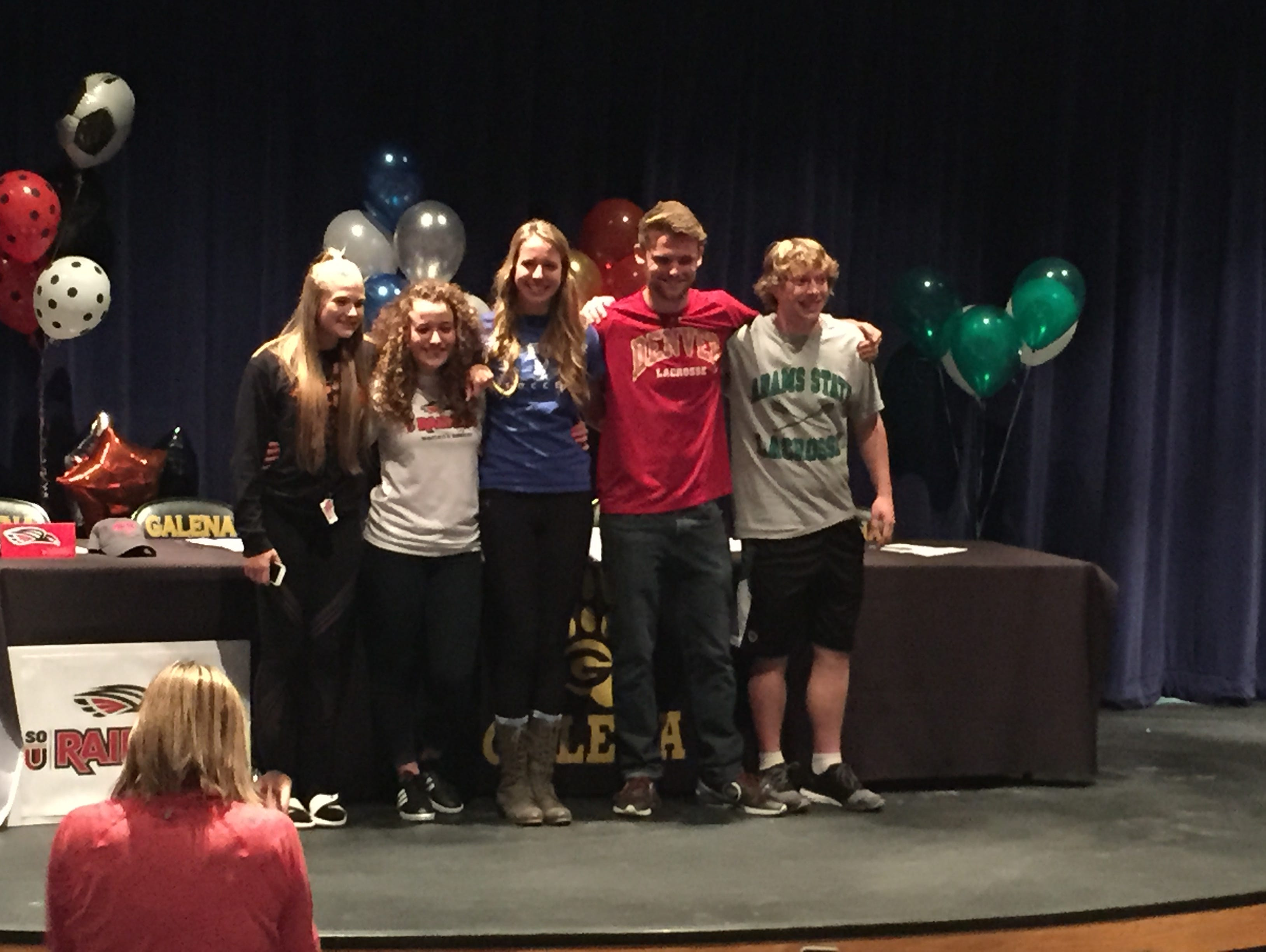 Galena had five students sign to play sports in college. Left to right: Savanna Force; Rachel Henley; Eva Swearngin; TJ Wright; Travis Ermann..