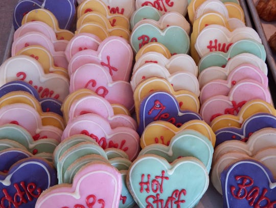 Conversation heart cookies for Valentine's Day at Deluxe