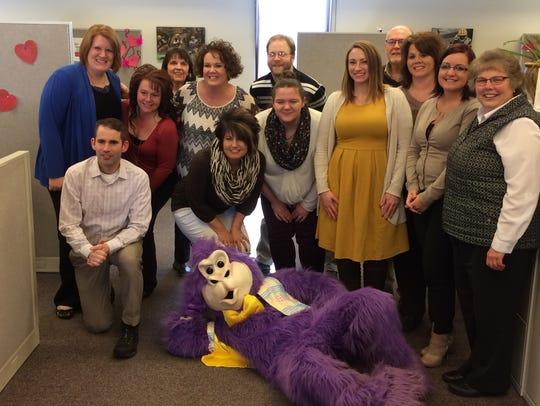 The gorilla also paid a visit to Marshfield Insurance