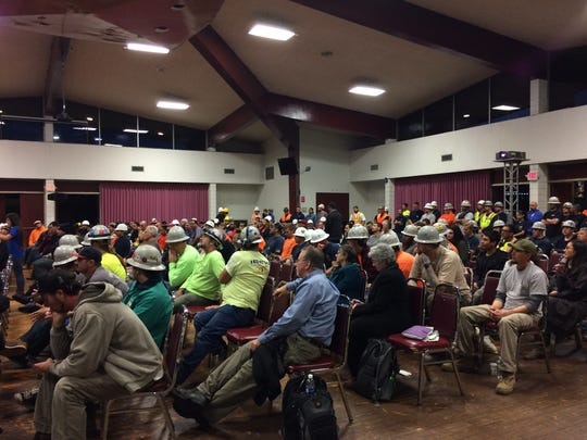 A group consisting mostly of construction workers expresses support for the Oxnard power plant proposal during a Wednesday hearing.