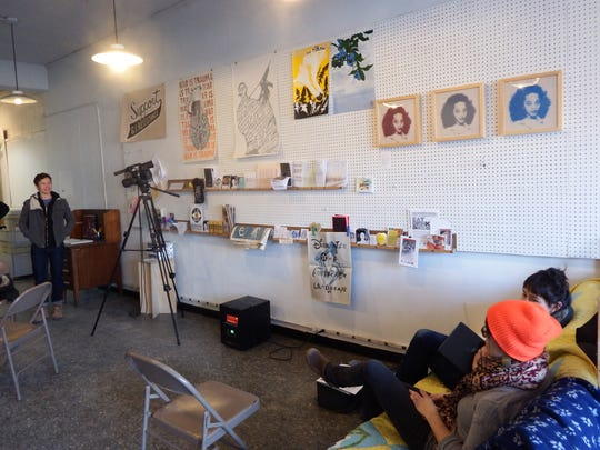 The inside of Near Future, a temporary art gallery,