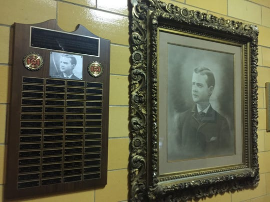 A picture and plaque honor Harry B. Austin, the only Rochester Fire Protective who has died in the line of duty. Austin died in 1896.