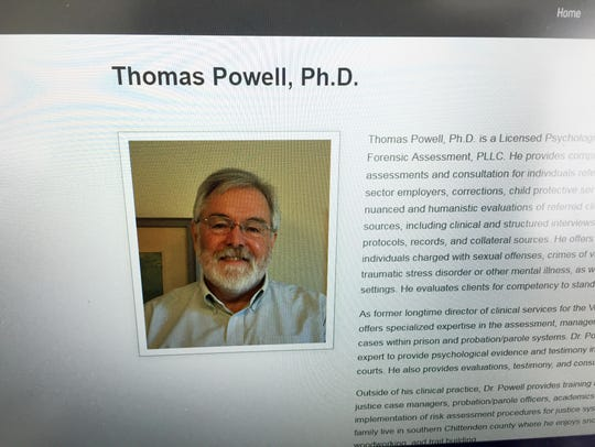 Dr. Tom Powell of Vermont Forensic Assessment, as shown