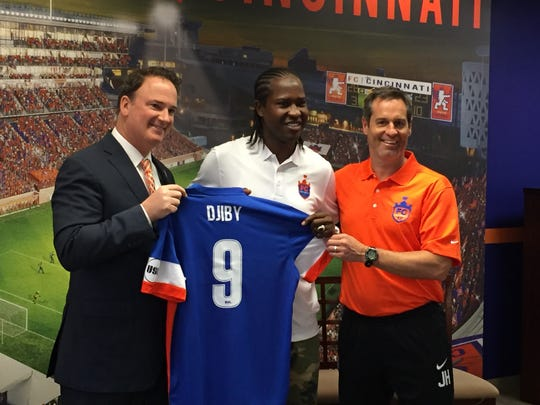 "FC Cincinnati introduced Monday at its Downtown offices 6-foot-2 Senegalese international forward Baye ""Djiby"" Fall."