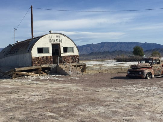 An old laundromat is a virtual landmark in Tecopa Hot Springs.