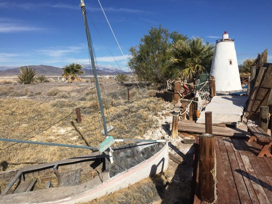 The sailboat gone ashore at Justin Blake's Second Wind Hot Water Retreat started as a practical joke.