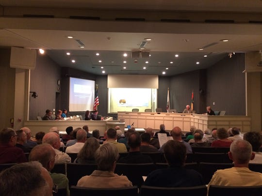 Palm Springs council members Chris Mills and Ginny Foat heard from residents on Feb. 13, 2017, about the proposed CV Link.
