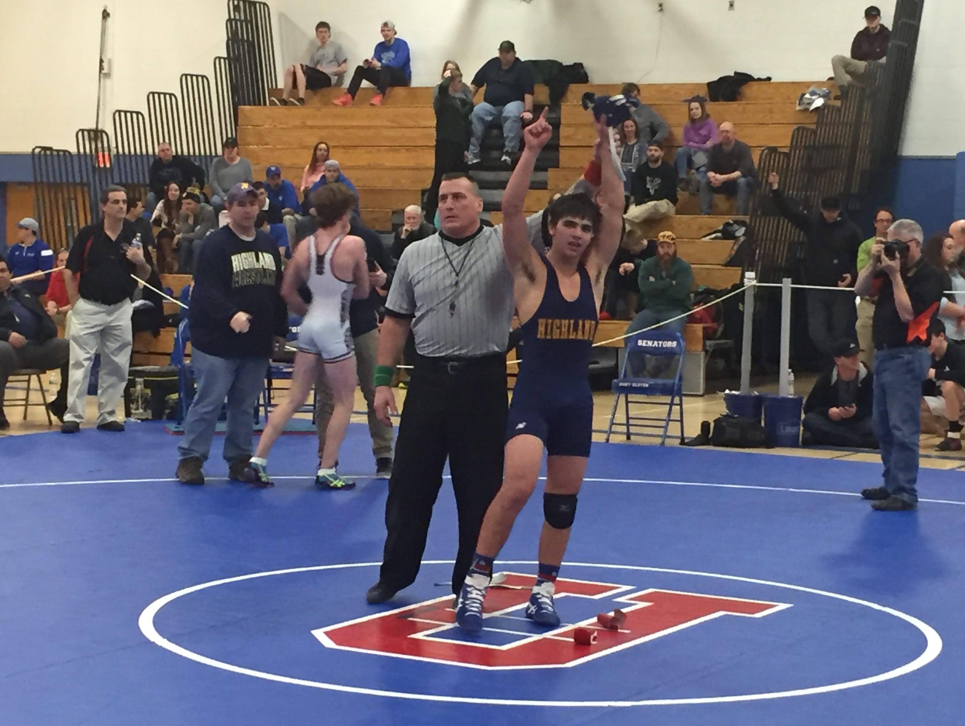 Highland's Matt Malheiro captured a Section 9 Division II wrestling title Monday at SUNY Ulster. He was one of 12 area wrestlers who competed.