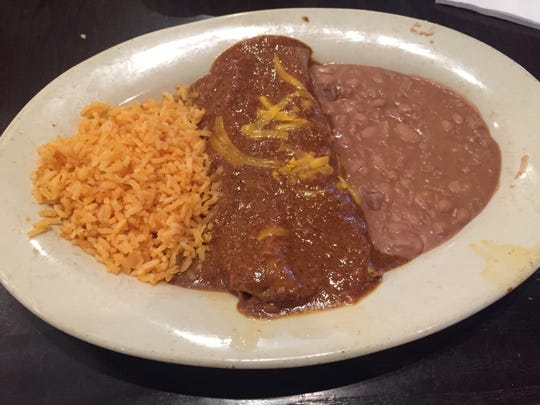 The beef enchiladas are slathered in chili con carne