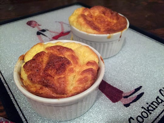 These cheese soufflés can be frozen and then baked in the oven another day.