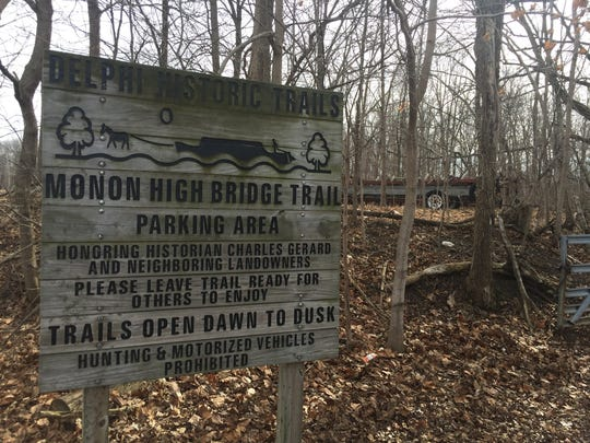 This is the trail head sign where the girls were dropped off to hike Monday afternoon. Their bodies were found about 12:15 p.m. Tuesday about 50 feet from the shore of Deer Creek.