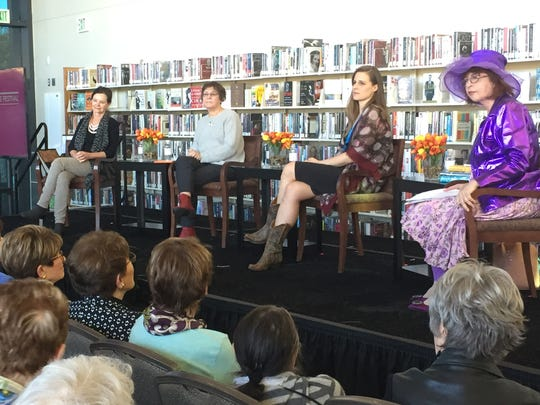 (L to R) Authors Geraldine Brooks, Karen Joy Fowler, Lauren Groff and LA Times columnist Pat Morrison listen to a question from an audience member during their panel discussion where they dished on topics such as writing while raising kids and overcoming writers block.