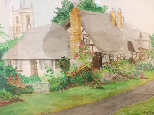 English cottage painted by Patricia Clapp after she suffered a stroke. She is painting with her left hand after her right was paralyzed by the stroke.