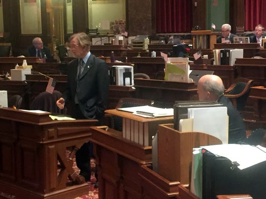 Sen. Herman Quirmbach, D-Ames, addresses the Iowa Senate at 6:11 a.m .on Thursday, Feb. 16, 2017, after an all-night debate.