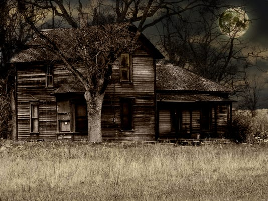 Haunted house isolated on an abandoned lot