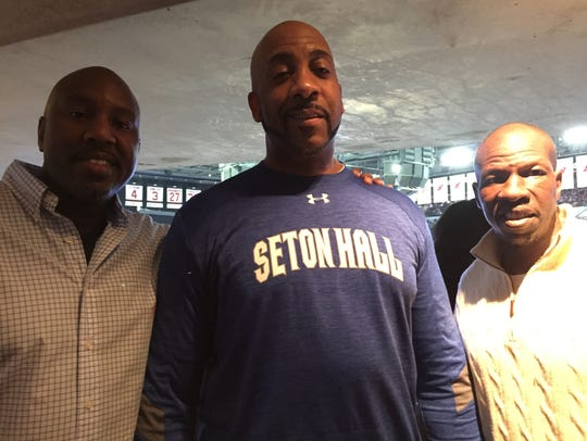 Three starts from Seton Hall's 1989 Final Four team, (from left) John Morton, Daryll Walker and Gerald Greene attended a Pirate game together in 2017.