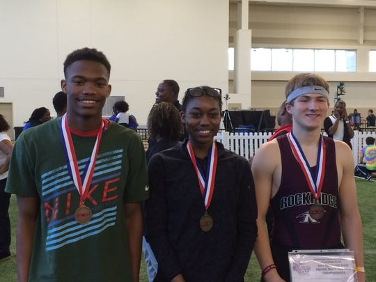 From left, Oakland athletes Troy Valdary, Imani Udoumana and Brady Fry, who all fared well at the Tennessee High School Indoor Track & Field Championships on Saturday.