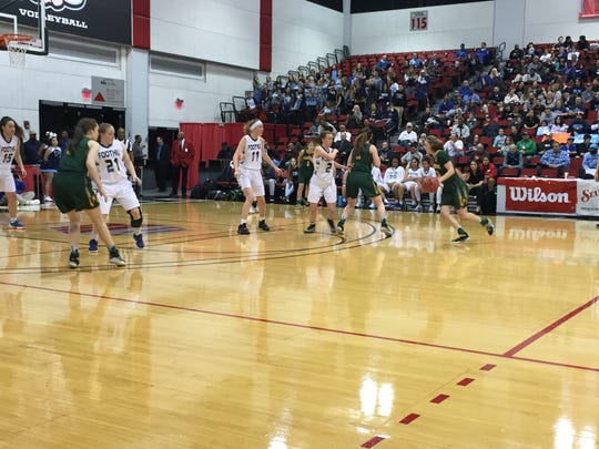 The Bishop Manogue girls raced past Foothill, 74-37, Thursday to advance to the state title game.