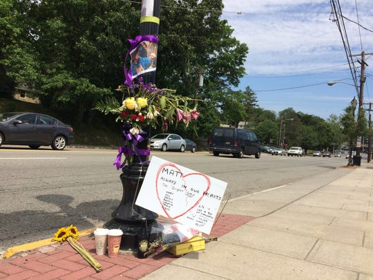 A memorial on Bloomfield Avenue in Verona for Matthew BeneduceMcGrath, shortly after he was killed in a hit-and-run in June 2016.