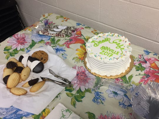 The Death Cafe cake and cookies offered as refreshments during the Annville Free Library Death Cafe. Death Cafes are considered a safe, respectful place for people to discuss death while having refreshments.