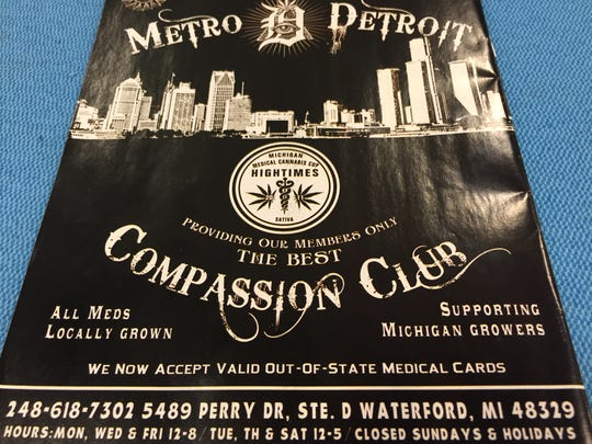 This back-cover magazine advertisement promoted, in June 2014, the nonprofit Metro Detroit Compassion Club as an ideal place for obtaining medical marijuana.