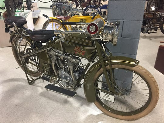 Motorcyclepedia's collection includes a 1917 Thor Twin motorcycle once owned by actor Steve McQueen, who rode it in the Rockies with his wife on board.