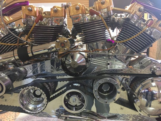 At Motorcyclepedia in Newburgh, a detail of the two engines on a motorcycle designed by Arlen Ness of California.