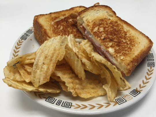 A grilled ham-and-cheese sandwich at the Pearl Street