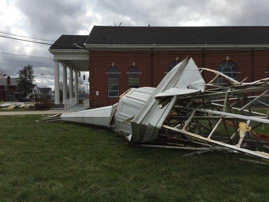 Steeple destroyed