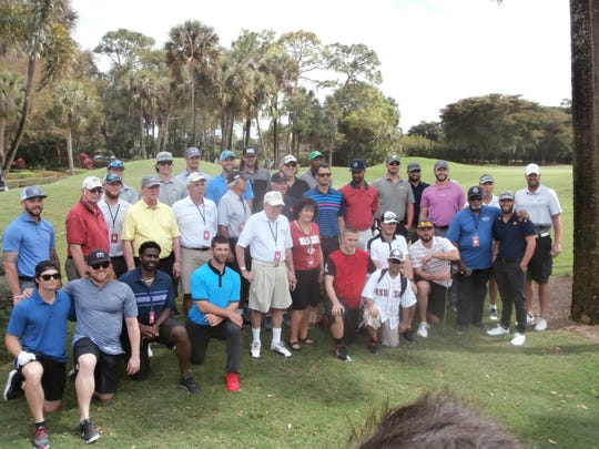 Many of the former and current Boston Red Sox players and coaches plus other celebrities that participated in the annual golf tournament at the Forest Country Club benefiting the Golisano Children's Hospital of Southwest Florida at HealthPark gather before playing on the two courses.