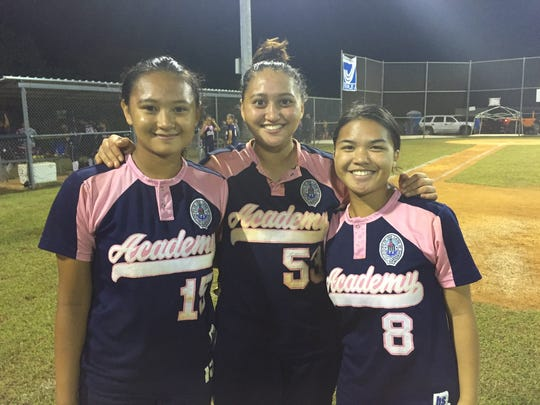 Ashley Mendiola, Juliana Nelson and Rhia Pangindian (L-R) helped lead the Academy Cougars to a 14-3 victory over the Guam High Panthers in the IIAAG softball playoffs. March 1, 2017